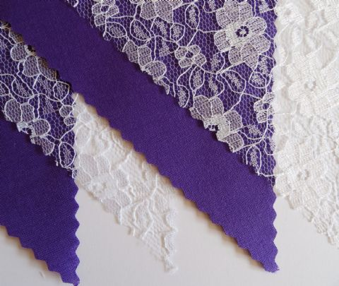 BUNTING - Plain Purple & White Floral Lace - 3m/10ft or 5m/16ft
